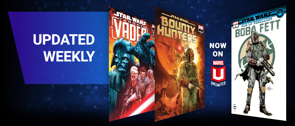 Updated Weekly. Three different Star Wars comic covers. Darth Vader, Boba Fett, Bounty Hunters.