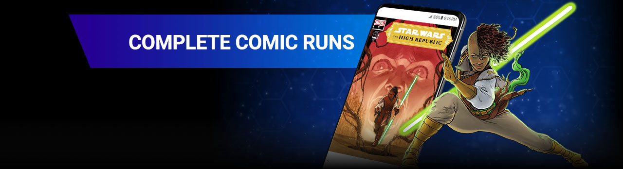 COMPLETE COMICS RUNS. From current series to classic fan-favorites, catch up on decades of comics lore that expands the Star Wars universe! Keeve Trennis next to screenshot of a phone with a comic.