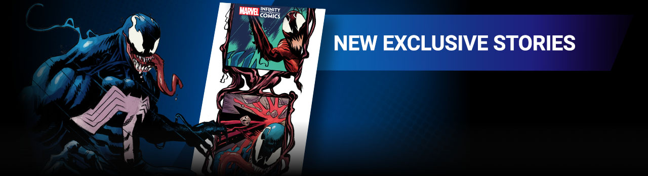 NEW EXCLUSIVE STORIES: Introducing Infinity Comics by Marvel's top creators, told in vertically-scrolling format. Venom with screen from the app.
