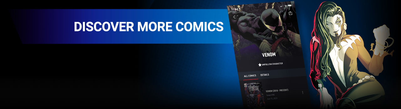 DISCOVER MORE COMICS: Enjoy the entire Marvel Universe through Reading Guides and recommended runs! Shriek with screen from the app.