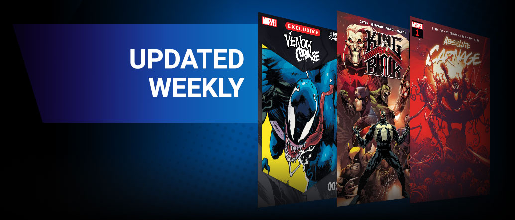 UPDATED WEEKLY: Classic and newer issues added every week of Marvel's must-read series, as soon as 3 months after they hit shelves! Three comic covers: VENOM/CARNAGE #1, KING IN BLACK #1, ABSOLUTE CARNAGE #1.