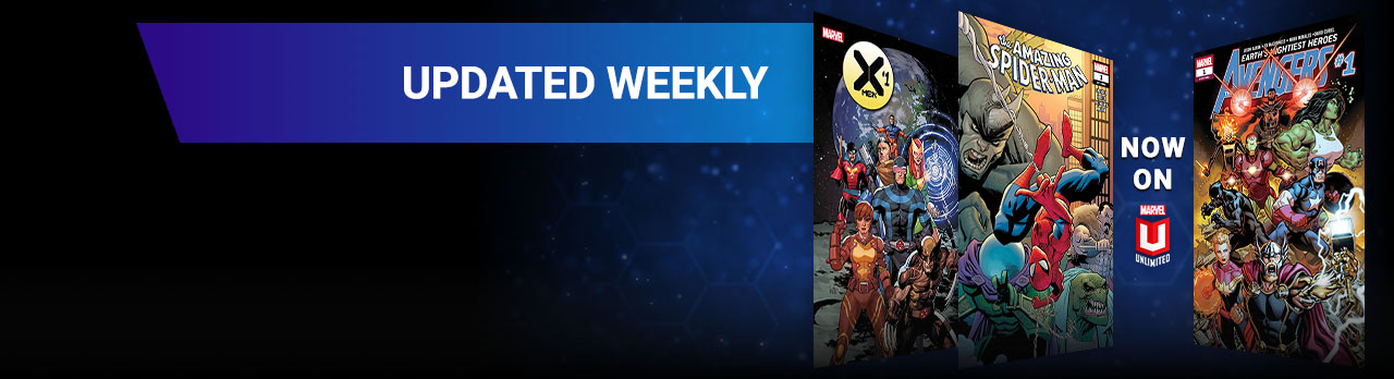 Updated Weekly. Three comic covers THE AMAZING SPIDER-MAN, AVENGERS, and X-MEN.