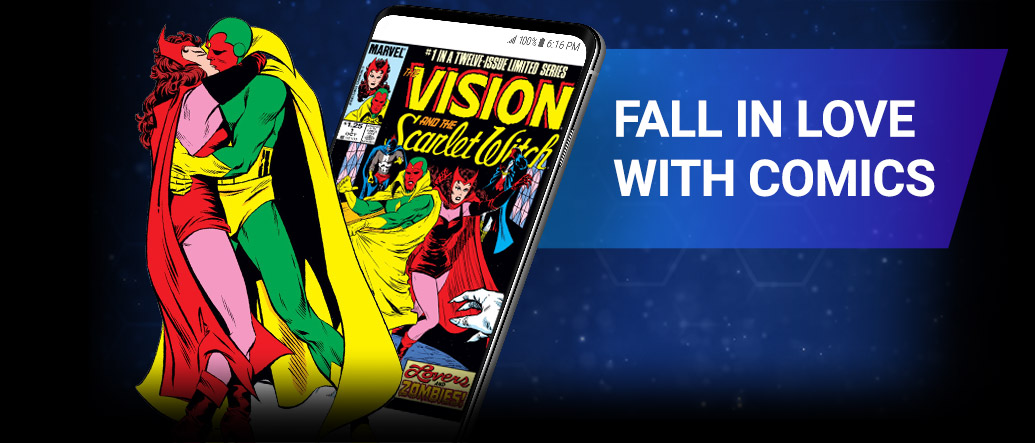 FALL IN LOVE WITH COMICS. Image of Scarlet Witch and Vision kissing beside screenshot of a comic page within the app.