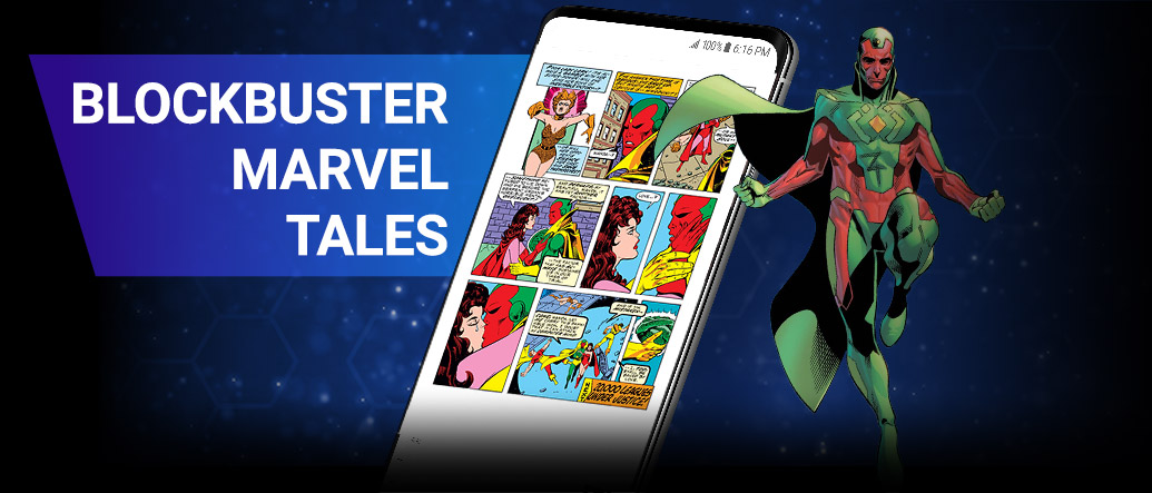 BLOCKBUSTER MARVEL TALES: From first appearances to first kisses, MU has it all! Read these defining moments in full. Vision next to screenshot of a phone with a Vision comic.