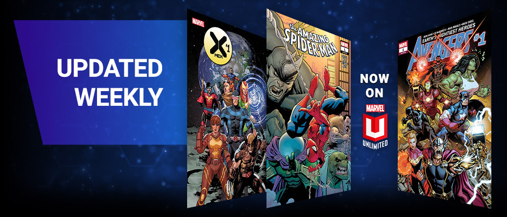 Updated Weekly: Three comic coversTHE AMAZING SPIDER-MAN, AVENGERS, and X-MEN .
