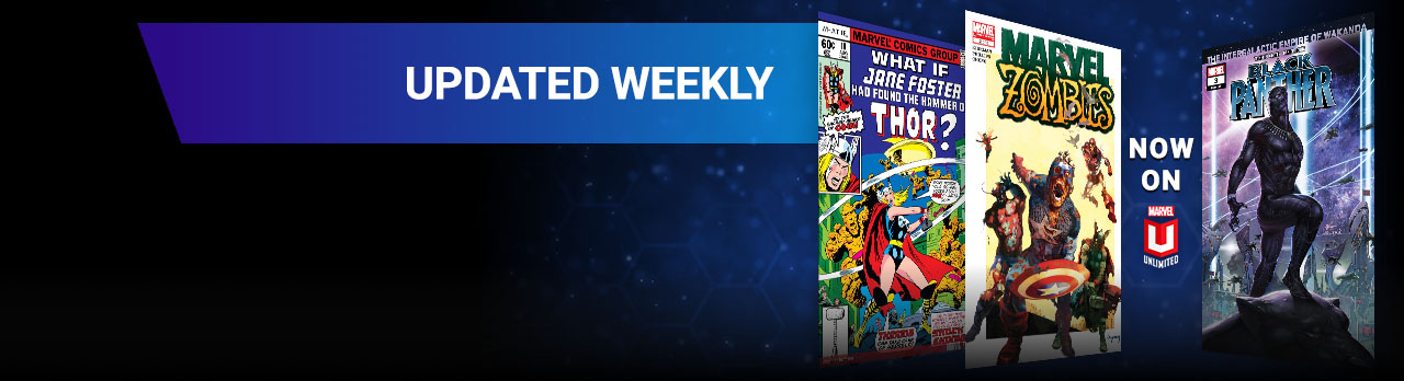 Updated Weekly. What If, Marvel Zombies and Black Panther comic covers.