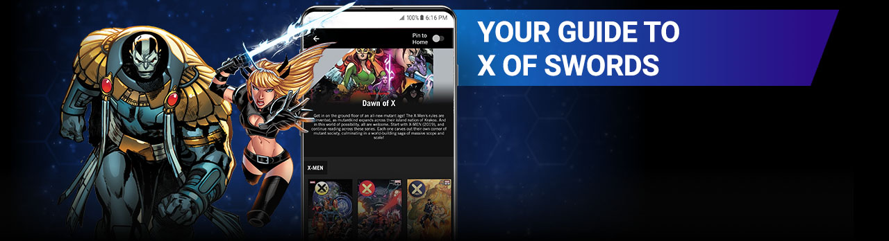 Your Guide to X OF SWORDS. Image of Apocalypse and Magik next to a screenshot of the app.