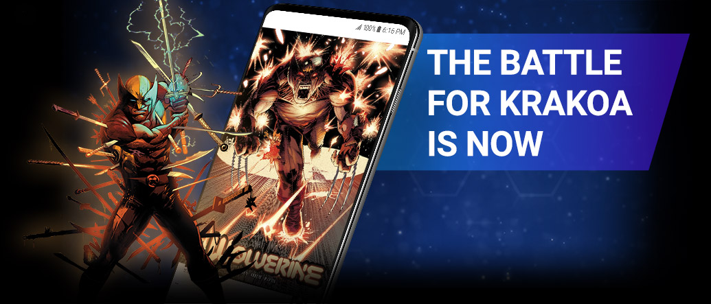New On Marvel Unlimited. Image of Wolverine wielding a sword beside screenshot of a comic page within the app.