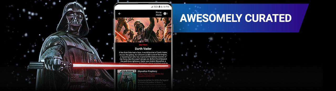 Awesomely Curated. Darth Vader with light saber next to a screenshot of the app.