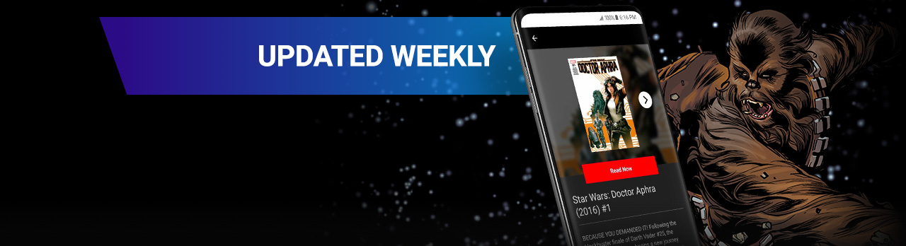 Updated Weekly. Chewbacca with a screenshot of the app.