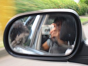 Lia Bulaong | reflected by car, with dog (three) | makati