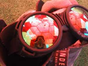Missy | dome reflected in goggles | Black Rock Desert, Nevada