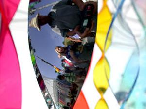 "David R. Darrow | Twirler With Sideways Reflection | Ocenaside, CA ""Harbor Days"""
