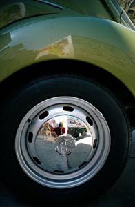 Tiffany Bauer | reflection in pretty olive green bug | Westwood, CA