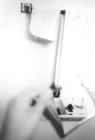 Akiko Sato   in the mirrors   in my bathroom, Santa Monica, CA