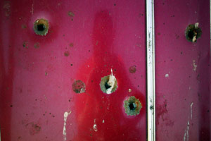 frank kolodziej | Bullet Holes In A Car Door | somewhere in Southern California