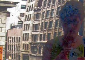 Susan Sermoneta   Finished shopping   Daffy Dan's elevator overlooking 34th & B'way