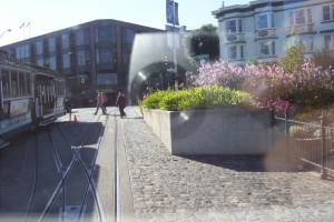 dave smith | Cable Car Reflection | Cable Car Turn around by the wharf