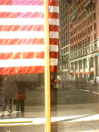 tamara wills | american flag reflection of myself and clare | New york city