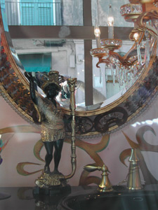 Mark J. Smith | Sink, Mirror, Chandalier, and a friend waving Hi | French Quarter, New Orleans, LA