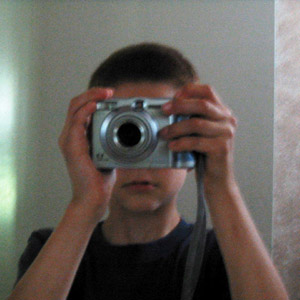 Timothy Durkee | Playing with big brother's camera | Downstairs bathroom, at home, Sacramento, CA