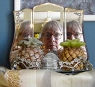 Valerie Elson | Me Reflected in Thea's Pineapple Mirror. | Edmonton, Alberta, CANADA
