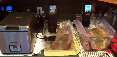 Three sous vide circulators