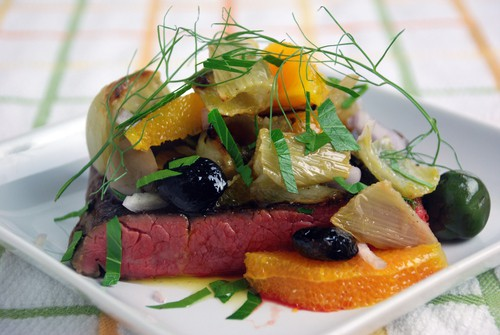 Tri tip roasted fennel olive salad