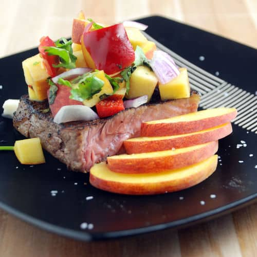 Sous Vide Hanger Steak With Peach Salsa