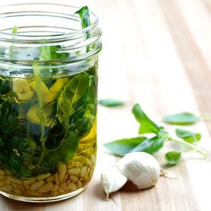 Pesto infused olive oil