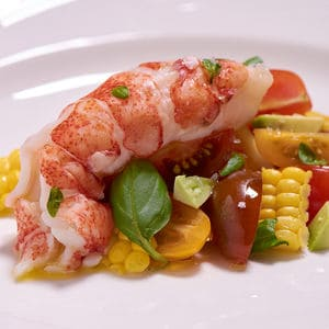 Sous vide lobster tomato salad close vert