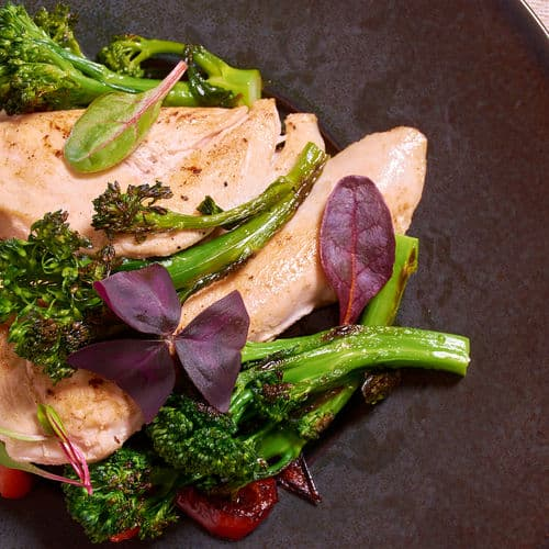 Sous vide chicken broccoli top side