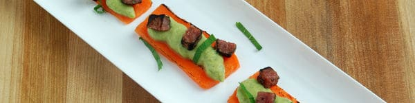 Carrot Planks with Pea Pudding  Recipe image