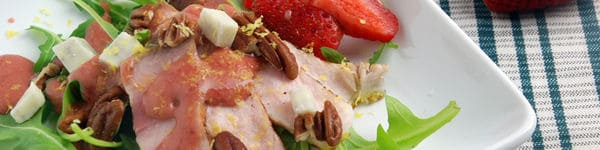 Pork and Roasted Strawberry Salad  Recipe image