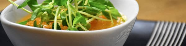 Chilled Cantaloupe Soup with Pea Shoots image