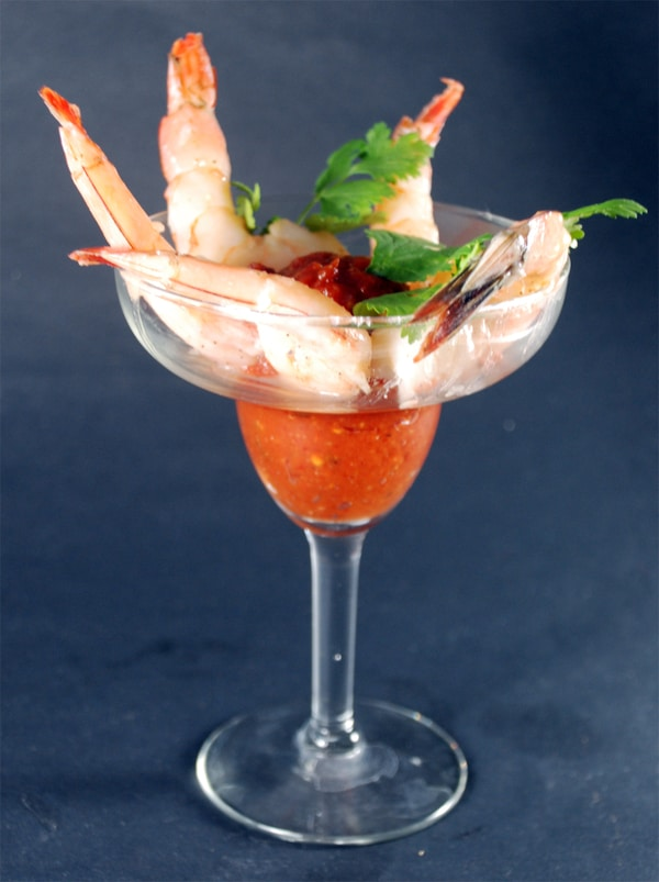 Sous vide shrimp cocktail in a glass