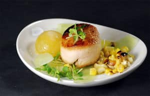 Mango sphere chicken scallop