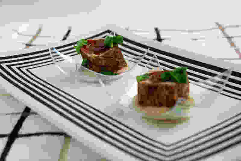 Seared tuna with pickled pear relish and asian accent sauce party
