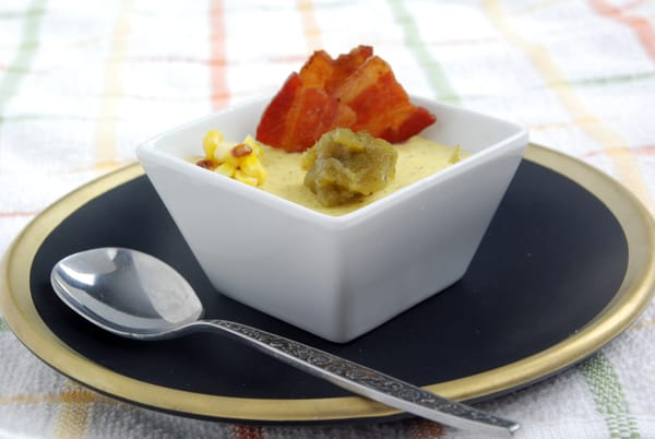 Roasted corn custard poblano pudding