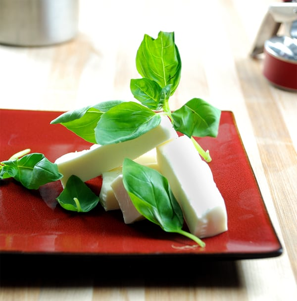 Basil siphon infused mozzarella square