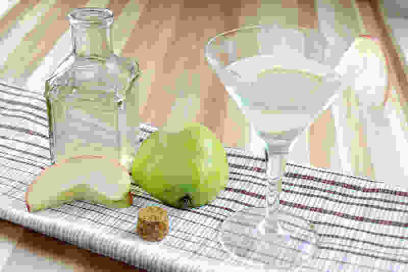 Sous vide infused apple pear gin martini side