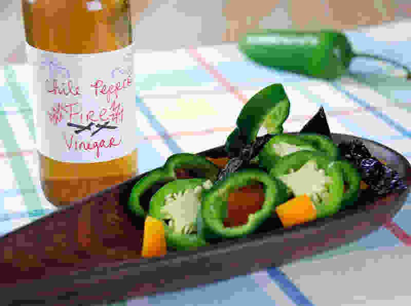 Chile pepper infused vinegar