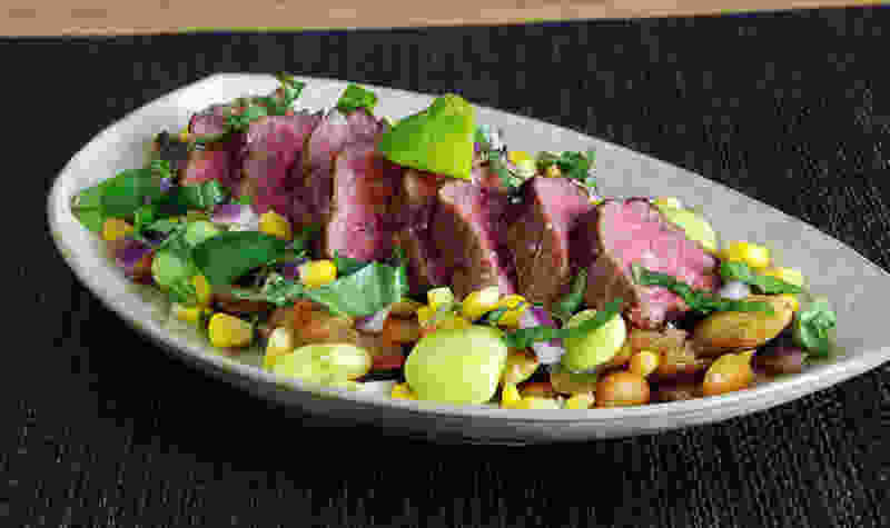 Sous vide steak succotash