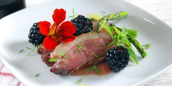 Sous vide duck blackberry port agar pudding