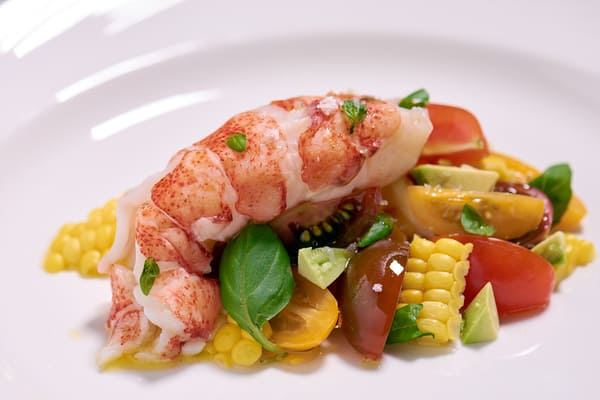 Sous vide lobster tomato salad close