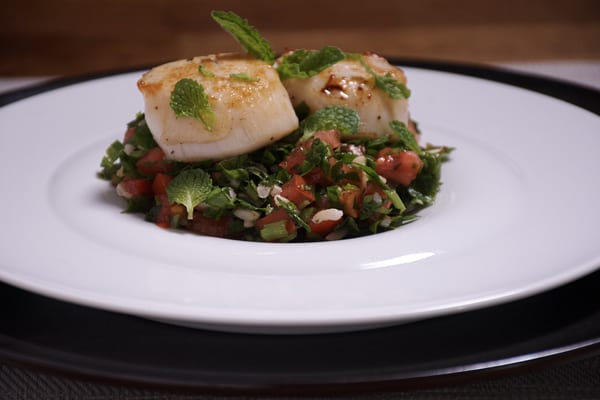 Sous vide scallops with tabbouleh 9