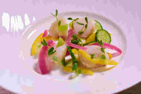 Sous vide smoked scallop salad close