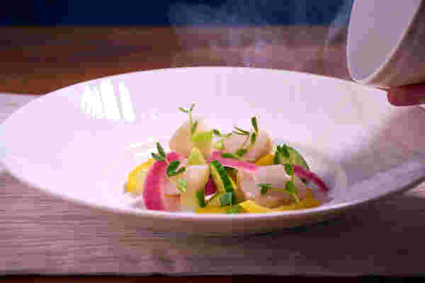 Sous vide smoked scallop salad bowl off