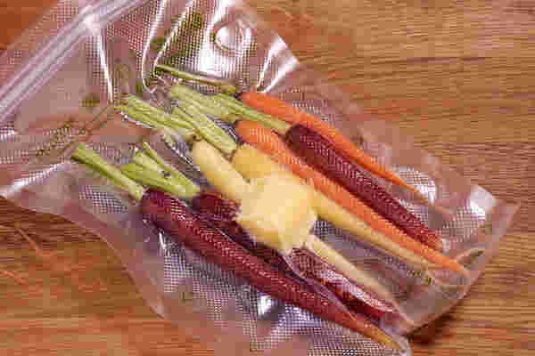 Sous vide carrots rainbow bag