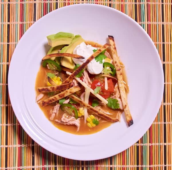 Sous vide tortilla soup shredded pork top s